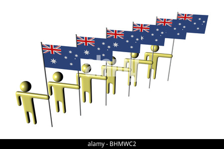 line of 3d abstract men holding Australian flags illustration - Stock Photo