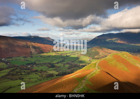 Newlands Valley looking towards Bassenthwaite Lake from Cat Bells, Lake District National Park, Cumbria, England - Stock Photo
