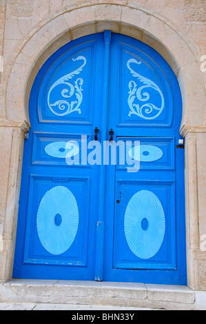 Colourful mosque door, Monastir, Monastir Governorate, Tunisia - Stock Photo