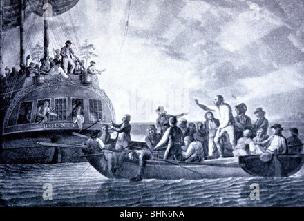 transport / transportation, navigation, Mutiny on the Bounty 1789, the captain, Lieutenant William Bligh, and the - Stock Photo
