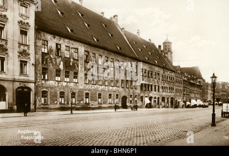 geography / travel, Germany, Augsburg, Fugger Houses, Maximilianstrasse, exterior view, picture postcard, Trinks, - Stock Photo