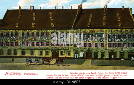 geography / travel, Germany, Augsburg, Fugger Houses, Maximilianstrasse, exterior view, art postcard, J. J. Brack, - Stock Photo