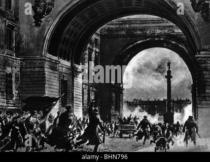 geography / travel, Russia, Revolution 1917, Bolschevists storming the Winter Palais in Saint Petersburg, 7.11.1917, - Stock Photo
