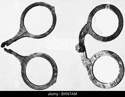 medicine, glasses / ophthalmology, wooden frames, 14th century, historic, historical, spectacles, specs , eyeglasses, - Stock Photo
