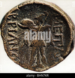 money / finance, coins, ancient world, Greece, Athens, bronze coin with picture of goddess Athena, Alkis, 3th century - Stock Photo