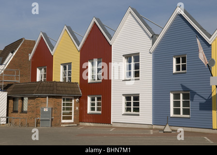 geography / travel, Germany, Schleswig-Holstein, Baltic Sea, Eckernförde, coloured fishing houses, exterior view, - Stock Photo