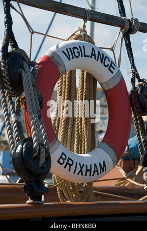 Lifebelt on the historic Brixham trawler Vigilance - Stock Photo