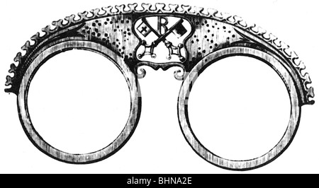 medicine, ophthalmology, glasses, pince-nez, illustration from Regensburg spectacle maker code, 16th century, historic, - Stock Photo