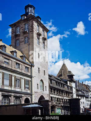 Hospital gate tower, former astronomic observatory, 17th century, Strasbourg, Alsace, France - Stock Photo