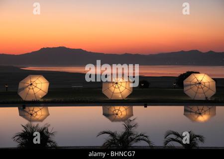 Myanmar, Burma, Bagan, sunset over Ayeyarwady River, Thiripyitsaya Hotel pool, - Stock Photo
