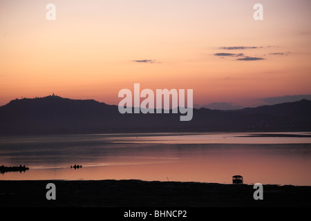 Myanmar, Burma, Bagan, sunset over Ayeyarwady River - Stock Photo