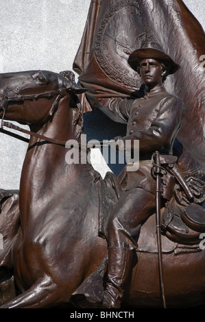Picture of Confederate cavalry trooper statue at the Virginia monument in Gettysburg National Military Park, Pennsylvania, - Stock Photo
