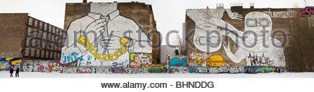 Mural on firewall in Kreuzberg, Berlin. Painted by Blu, - Stock Photo