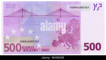 500 euro banknote back side plain flat. NATIVE SIZE, NOT UPSCALED - Stock Photo