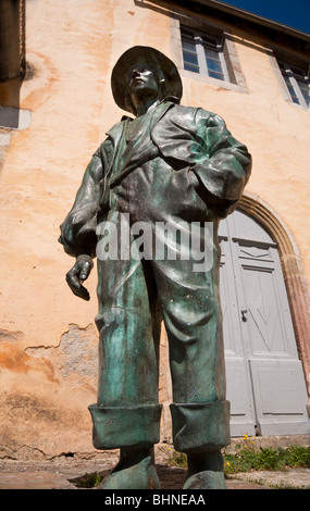 Statue Sculpture in front of building outside Tourist information Office Arreau [Hautes Pyrenees] France - Stock Photo