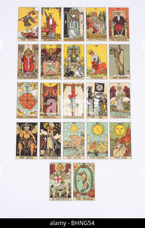 The 22 major arcana cards in a traditional pack of tarot cards. - Stock Photo