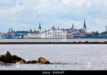 View to the Old Town and cruise ships, Tallinn, Estonia, from Pirita - Stock Photo
