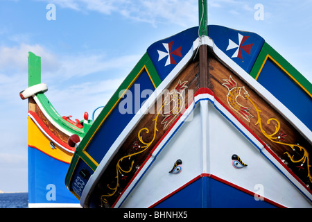 Luzzus, traditional Maltese fishing boats - Stock Photo