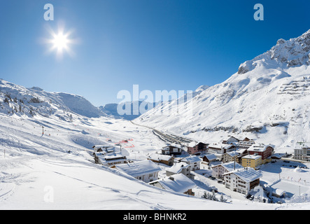View over the resort of Zurs, Arlberg ski region, Vorarlberg, Austria - Stock Photo