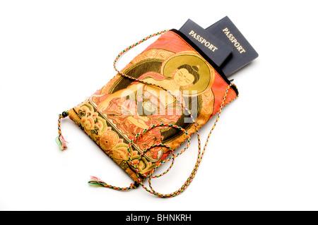 bag purse with passports - Stock Photo