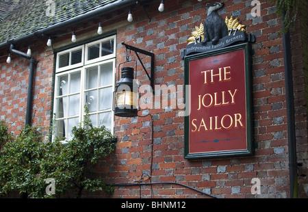 The Jolly Sailor Public House sign, Old Burseldon, Southampton, Hampshire, UK - Stock Photo