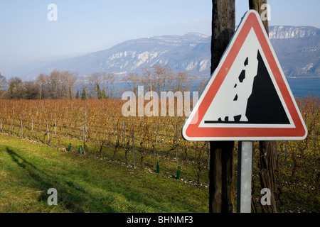 A sign to warn of falling rocks / rock falls, and a French alpine vineyard / vine yard. The Alps are visible in - Stock Photo