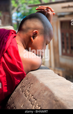 Young monk in red robe is looking dawn - Stock Photo