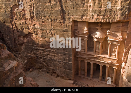 View of the Treasury from the top, Petra, jordan, Asia. - Stock Photo