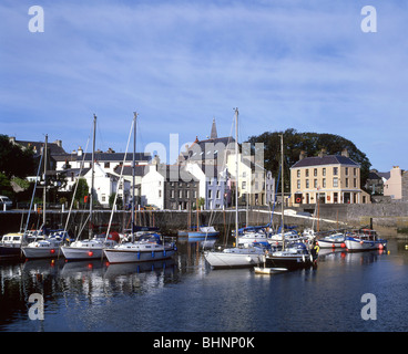 View of harbour and town, Castletown, Malew Parish, Isle of Man - Stock Photo