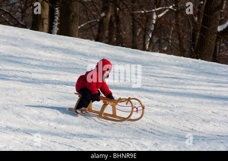 Boy riding his sledge downhill in Englischer garten, Munich, Germany - Stock Photo