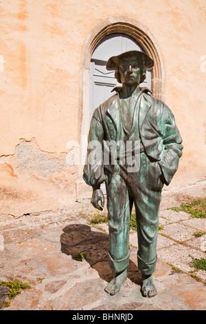 Statue Sculpture on footpath outside Tourist information Office Arreau [Hautes Pyrenees] France - Stock Photo