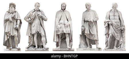 Italian Renaissance Great Artist statues outside Uffizi, Florence, Italy. Da Vinci, Michelangelo, Giotto, Donatello, - Stock Photo