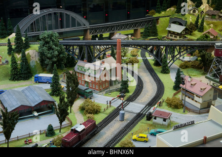 HO Scale Electric Model Toy train Large scale train set. Dresden Germany - Stock Photo