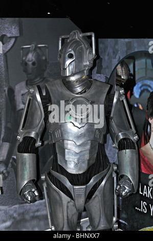 a cyberman in a dr.who exhibition at lands end in cornwall, uk - Stock Photo
