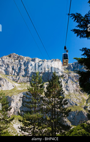 Mountain view of the Picos de Europa from the Cable Car station at Fuente De Asturas Northern Spain - Stock Photo