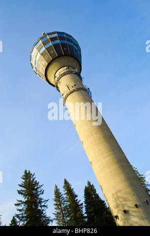 The Puijo Tower, Kuopio, Finland, stands 75m above its base and 306m above sea level - Stock Photo