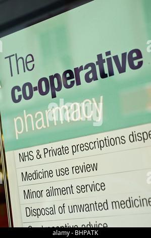 Co-operative pharmacy, UK - Stock Photo
