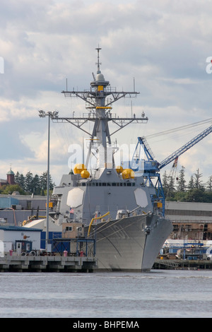 The Burke Class Aegis guided missile destroyer USS GRIDLEY  (DDG-101) 5 months before commissioning at Bath Iron - Stock Photo