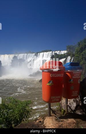 recycling bins at iguazu national park, republic of argentina, south america - Stock Photo