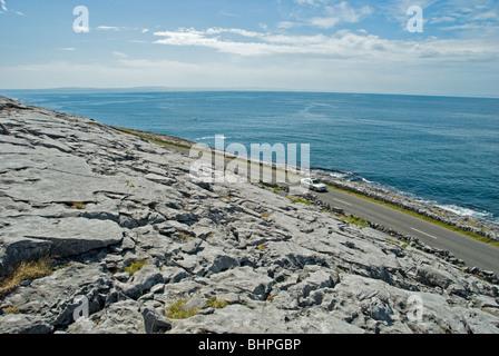 Coastal road at Black Head in County Clare, Ireland. - Stock Photo
