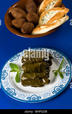 Stuffed vine leaves , Fried bulgur (kibbeh) and cheese samosa Beirut Lebanon Middle East - Stock Photo