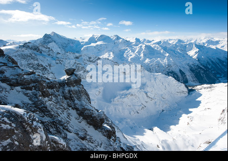 Panorama from Titlis over swiss alps, Engelberg, Switzerland - Stock Photo