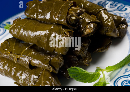 Stuffed vine leaves Beirut Lebanon Middle East - Stock Photo
