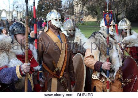 Anglo Saxon warriors Jorvik Viking Festival 2010 York North Yorkshire England - Stock Photo