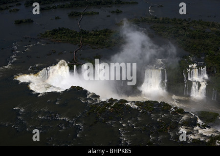 aerial view taken from a helicopter of iguazu falls iguacu national park, parana, brazil, south america - Stock Photo