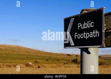 a public footpath sign on dartmoor in devon, uk - Stock Photo