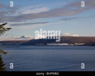 The mountains of Coigach,Sutherland,  and Gruinard Bay, from Second Coast, Wester Ross, North West Scotland on the - Stock Photo