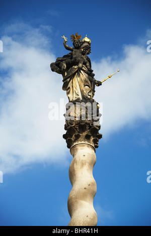 Marian Plague Column In Lower Square (Dolni Nam), Olomouc, Moravia, Czech Republic, Eastern Europe - Stock Photo