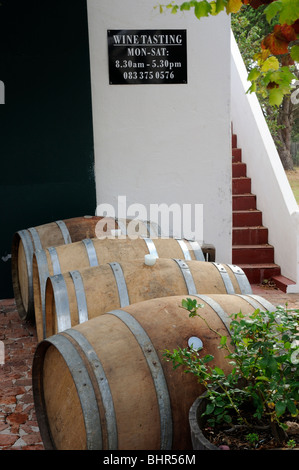 Wine tasting notice at Post House Wines cellar and winery Stellenbosch cape province South Africa - Stock Photo