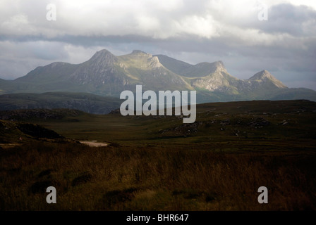 Looking over the Kyle of Tongue towards Ben Loyal on the north coast of Scotland. - Stock Photo